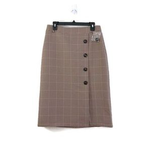Topshop Checkered Skirt with Buttons